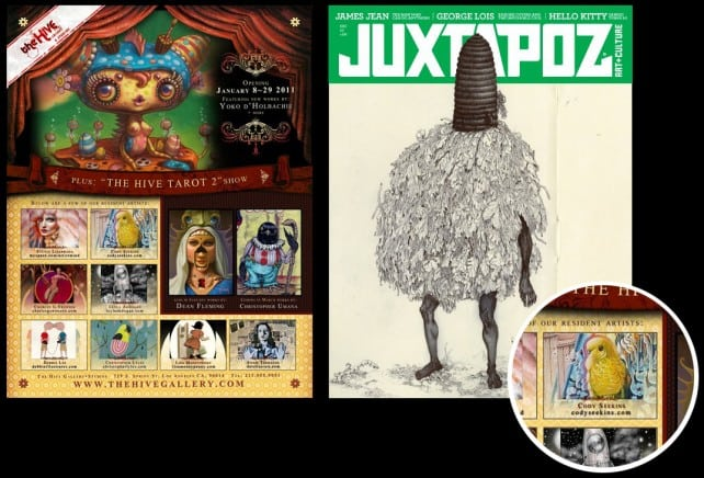 An ad from Juxtapoz Magazine announcing the Hive Gallery