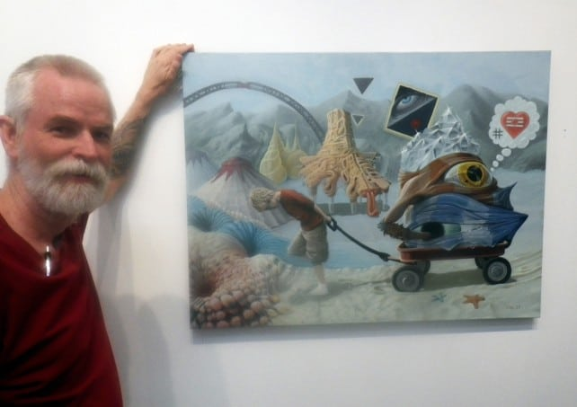 "Stephan Taylor unveiling ""Caravan of My Inner Child"" at the Auguste Clown Gallery in Melbourne, Australia."
